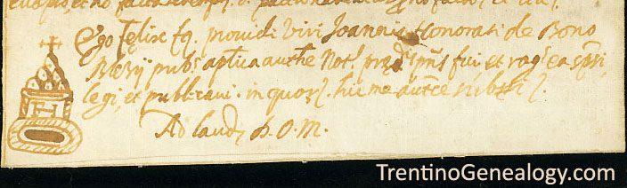 1642 Felice Onorati notary mark