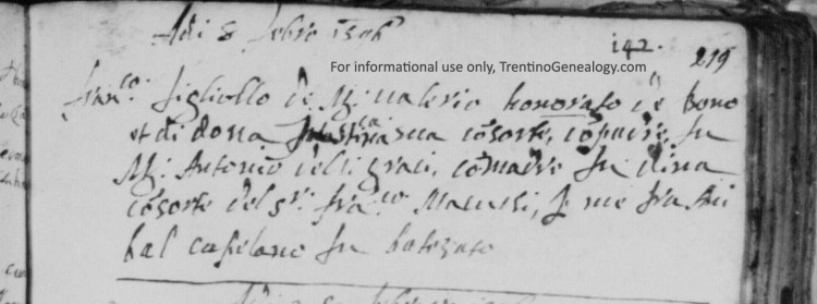 """1596. Baptismal record of Francesco Onorati, son of Valerio and Giustina. The surname is spelled """"Honorato""""."""
