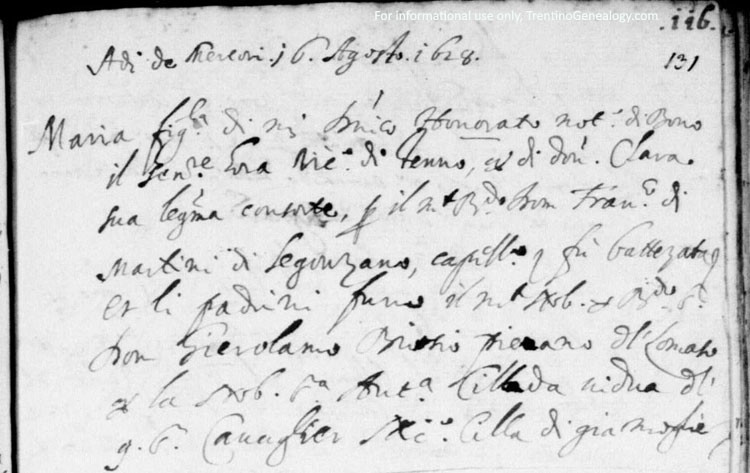 1628 - Baptismal Record of Maria Onorati from Santa Croce parish records
