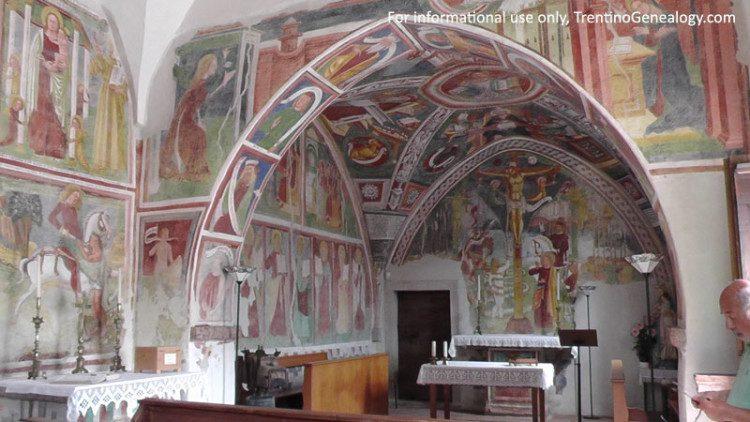 The 14th century church of San Felice in Bono, Bleggio.