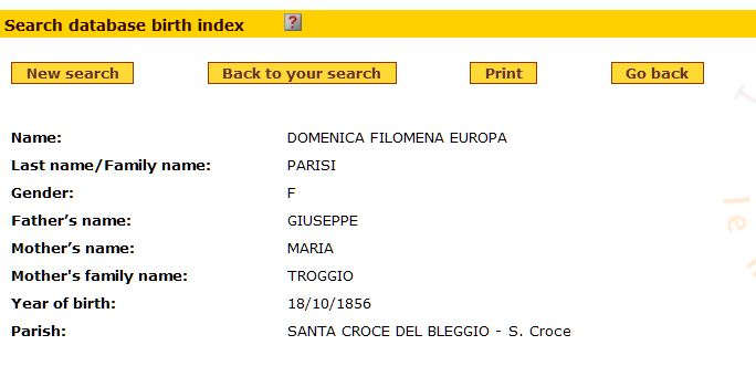 Search results for Europa Parisi, born 1856, on Nati in Trentino