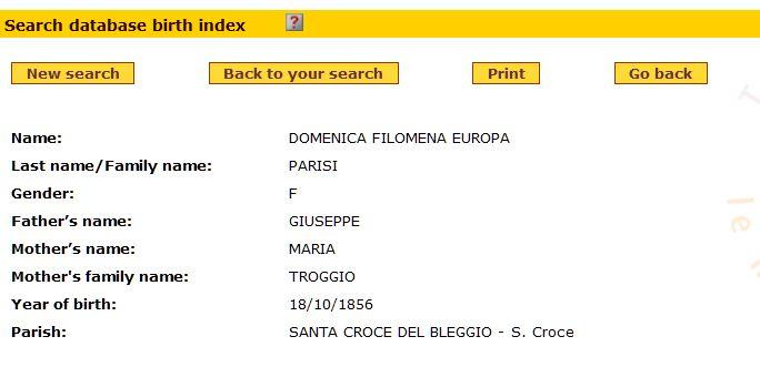 Search results for Europa Parisi, born 1856, on Nati in Trentino