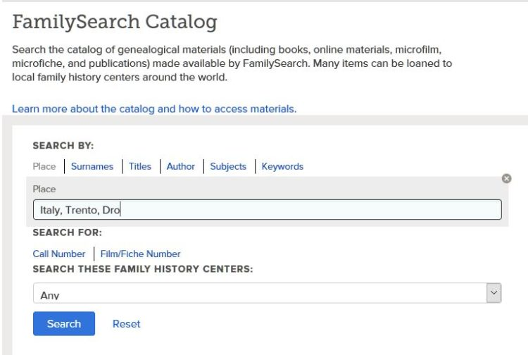 Family Search website - screenshot of search field