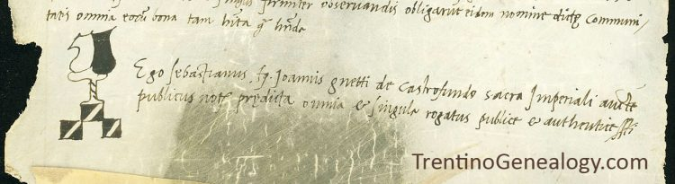 1521 notary mark of Sebastiano Genetti of Castelfondo