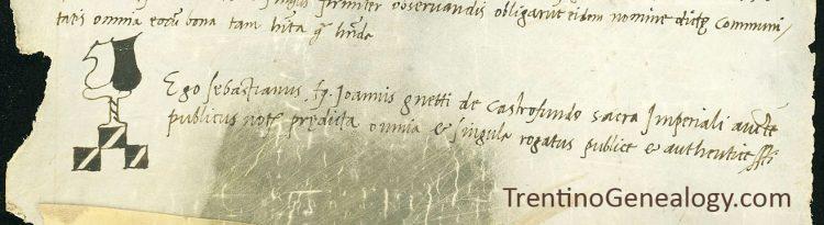1521 notary mark of Sebastiano Genetti of Castelfondo
