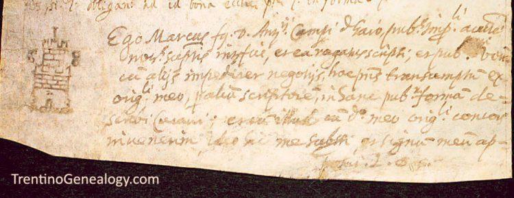 1631 - Notary Mark Marco Campi of Gallio, Santa Croce del Bleggio