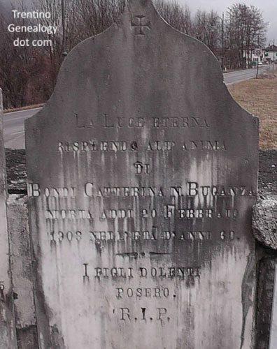 1903 grave of Catterina Buganza (married name Bondi), Saone cemetery, Trento, Trentino-Alto Adige, Italy