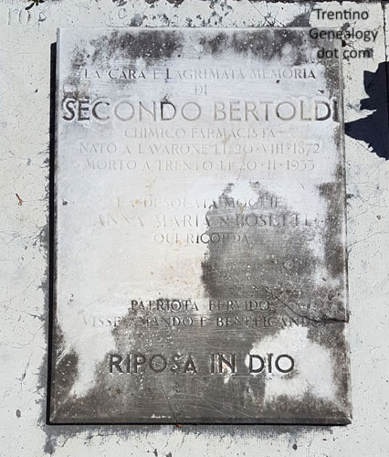 1933 ossuary gravestone for Secondo Bertoldi, pharmacist, Trento Monumental cemetery, Trento, Trentino-Alto Adige, Italy