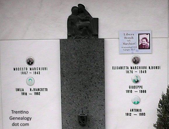 Grave for the family of Modesto Marchiori and Elisabetta Bondi, Saone, Trento, Trentino-Alto Adige, Italy