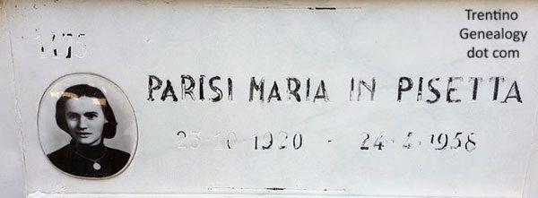 1958 Gravestone for Maria Parisi (born 1920), married name Pisetta, Trento Municipal (aka Monumental) Cemetery, Trento, Trentino-Alto Adige, Italy