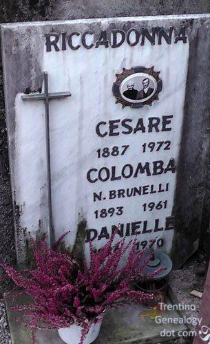 Gravestone of Cesare Riccadonna and his wife Colomba Brunelli, Balbido cemetery, Santa Croce del Bleggio, Trento, Trentino, Italy