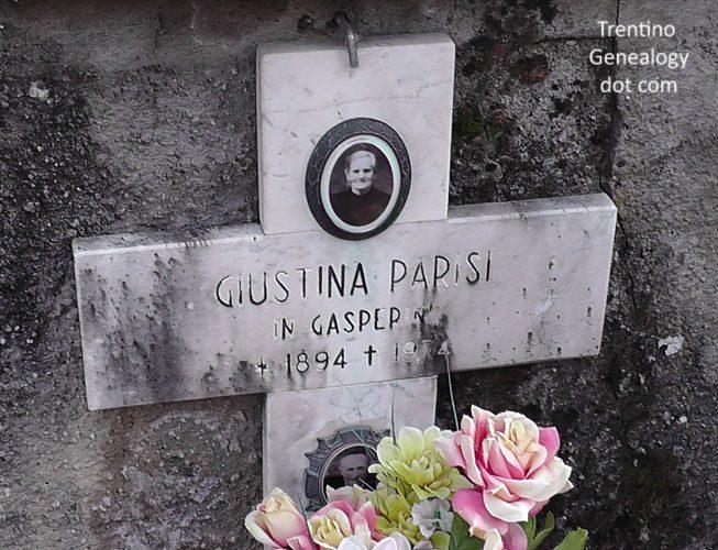 1974 grave of Giustina Parisi (born 1894), married name Gasperini, Tignerone cemetery, Santa Croce del Bleggio, Trento, Trentino-Alto Adige, Italy