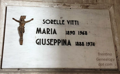 Ossuary gravestone for sisters Maria and Giuseppina Vitti of Trento, who died in 1968 and 1974. Cimitero Monumentale di Trento, Trento, Trentino Alto-Adige, Italy
