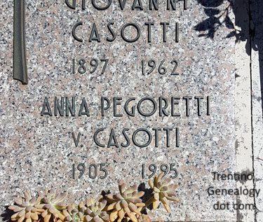 1995 grave of Anna Pegoretti, widow of Giovanni Casotti, Trento Monumental cemetery, Trento, Trentino-Alto Adige, Italy