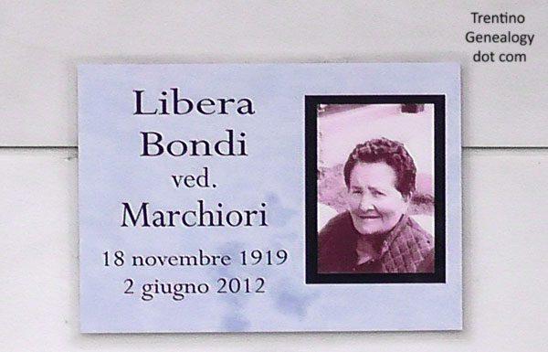2012 grave of Libera Bondi (born 1919), widow of Marchiori, Saone cemetery, Trento, Trentino-Alto Adige, Italy