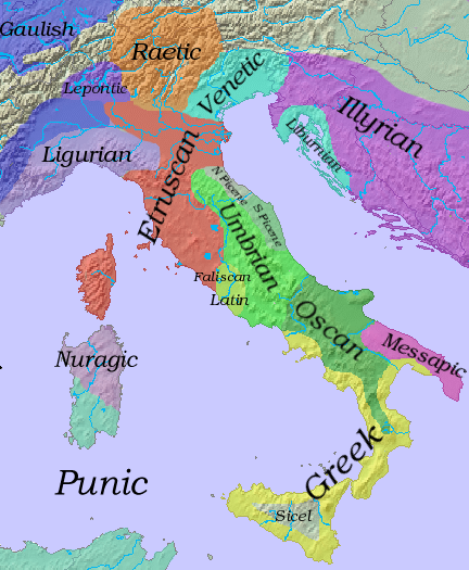 Languages in Iron Age Italy, ca. 6th c. BC