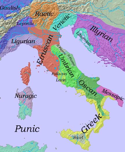 Languages in Iron Age Italy, ca. 6th c. BC