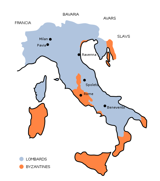 circa 700 AD, the Longobards (Lombards) in Italy