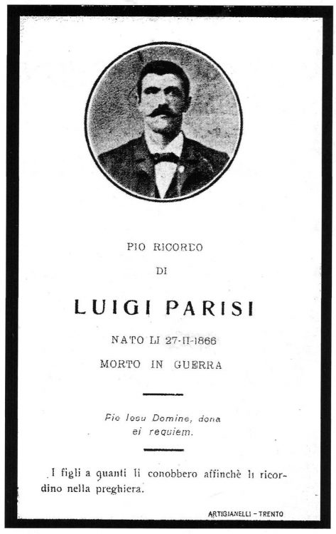 Memorial card for Luigi Parisi, cited as 'lost in Russia' in 1917.
