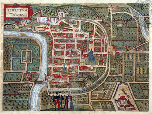 1581 - Map of the City of Trento by artisti Franz Hogenberg