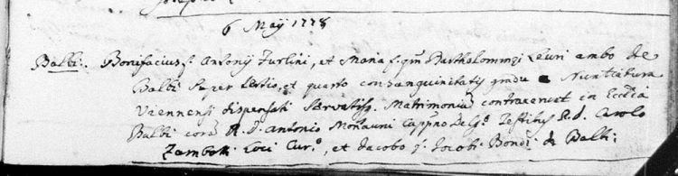 1778 marriage record of Bonifacio Blasio Furlini and Maria Levri