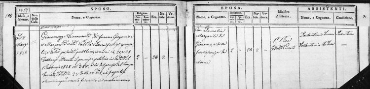 1858 marriage record of Fioravante Giacomuzzi and Margherita Damolin