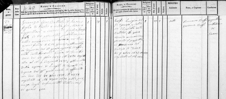 1873 marriage record of Giovanni Battista Speranza and Luigia Scalfi