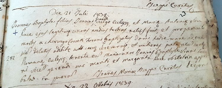 1839 marriage record from Valvestino in the province of Brescia, Lombardia, Italy