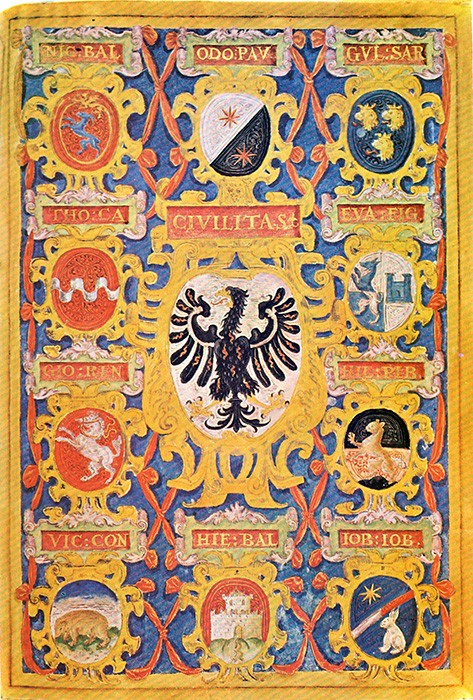 Cover of 1577 Libro della Cittadinanza di Trento, showing the coat-of-arms of the 10 consuls.
