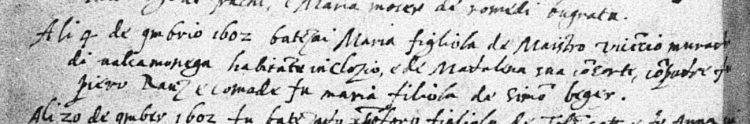 1602 baptismal record of Maria Canestrini of Cloz, daughter of Vincenzo of Valcamonica