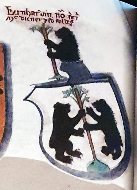 Close-up of stemma of Bernardino Malanotti, dated 1512, in the church of San Rocco in Caldes, Trentino, Italy