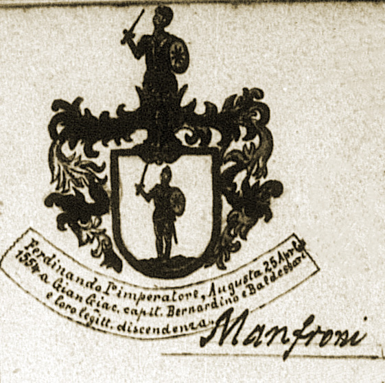 Stemma (coat-of-arms) from 1554 for Giovanni Giacomo Manfroni of Caldes, as drawn by Rev. Tommaso Bottea (1881)