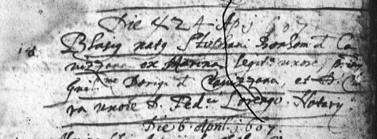 1607 baptismal record from Caldes for Biagio Bonomi