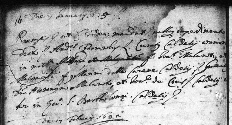 1635 marriage record of Matteo Malanotti and Margherita Dalle Caneve, both of Caldes, Trentino, Italy