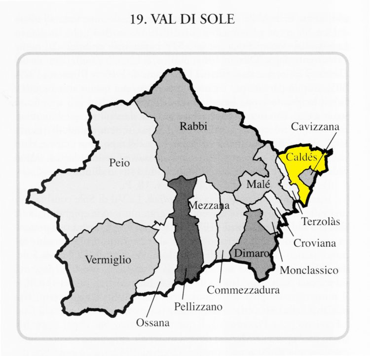 MAP - Caldes in Val di Sole, province of Trentino, Italy