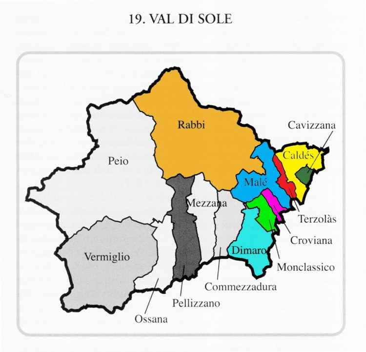 MAP - Decanato of Male' and curate parishes in Val di Sole, Trentino, Italy