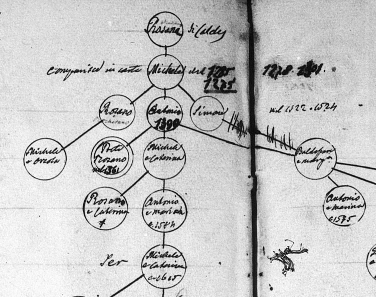 Most ancient generations of the Rosani family of Caldes, as researched by Father Tommaso Bottea (1881)