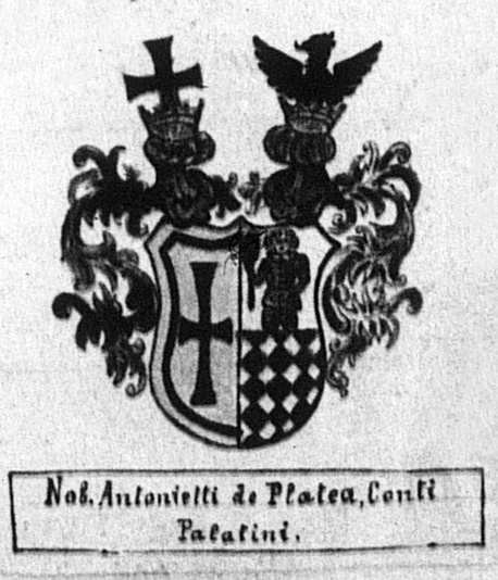 Stemma of the ancient noble Antonietti family of Caldes, as drawn by a priest-historian Rev. Tommaso Bottea in the parish register in Caldes.