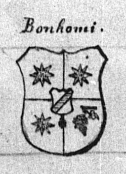 Stemma (coat-of-arms) of the noble Bonomi family of Caldes, as drawn by Father Tommaso Bottea in 1881.