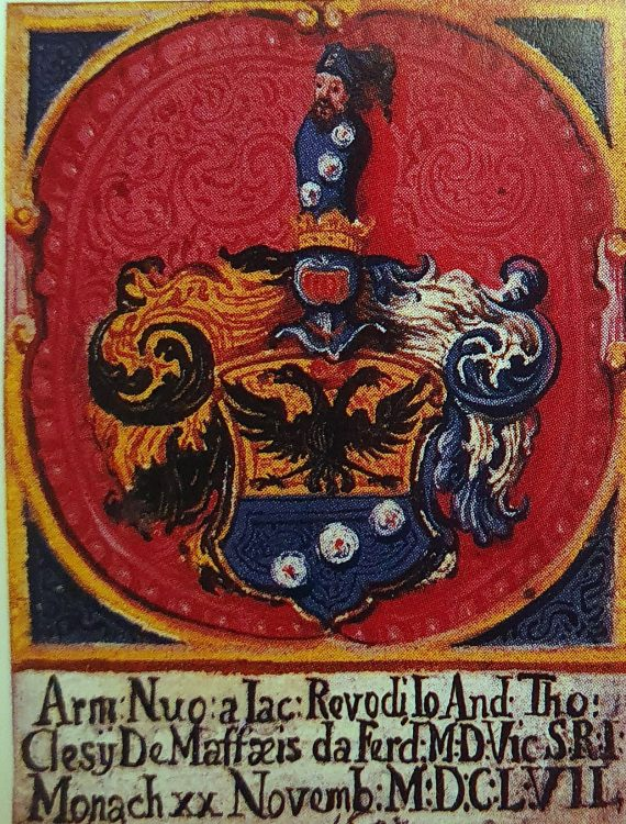 New stemma of the noble Maffei families of Revò and Cles, who were ennobled in 1657, as depicted in the Maffei archives in Revò, Val di Non, Trentino, Italy
