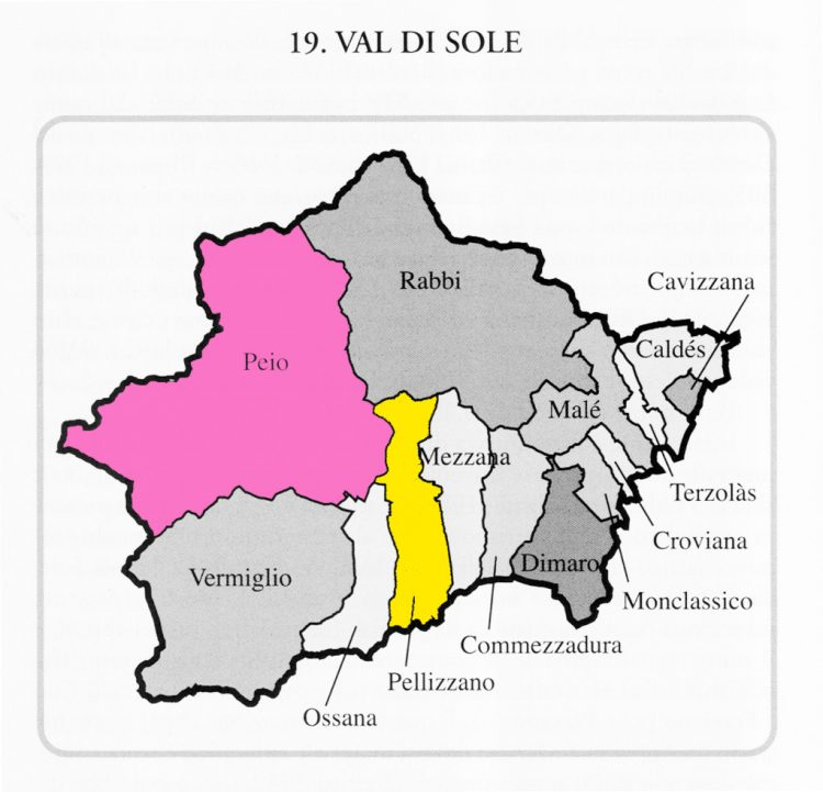 MAP: Val di Sole in Trentino, with Pellizzano and Peio highlighted