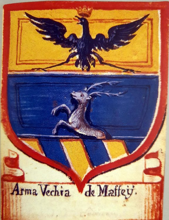 Arma vecchia (old coat-of-arms) in the Maffei archives in Revò, Trentino, Italy